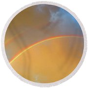 Double Rainbows In The Desert Round Beach Towel