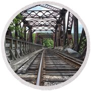 Double Truss Bridge #1679 On The Wmsr Round Beach Towel by Jeannette Hunt