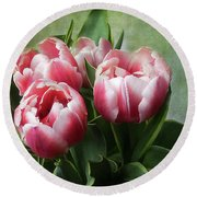 Round Beach Towel featuring the photograph Double Tulips by Ann Jacobson
