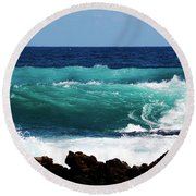 Double Waves Round Beach Towel