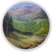 Round Beach Towel featuring the painting Doug's  by Loxi Sibley
