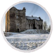 Doune Castle In Central Scotland Round Beach Towel