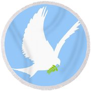Dove And Olive Branch Round Beach Towel