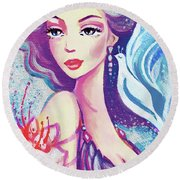 Dove Mermaid Round Beach Towel
