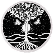 Dove Tree Round Beach Towel