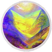 Round Beach Towel featuring the painting Dove Valley by Jane Small