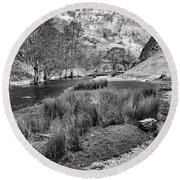 Dovedale, Peak District Uk Round Beach Towel by John Edwards