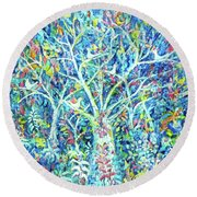 Doves In Trees Round Beach Towel