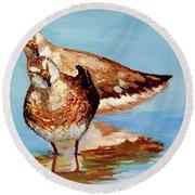 Dowitcher Birds Round Beach Towel