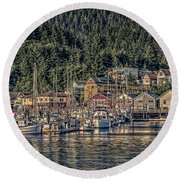 Round Beach Towel featuring the photograph Down At The Basin by Timothy Latta