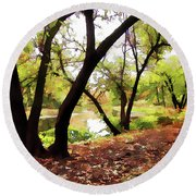 Round Beach Towel featuring the photograph Down By --- by Betsy Zimmerli
