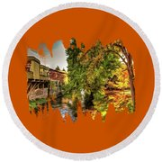 Down By The Creek Round Beach Towel
