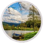 Round Beach Towel featuring the photograph Down By The Lake  by David Dehner