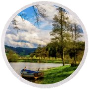 Round Beach Towel featuring the photograph Down By The Lake Photodigitalpainting by David Dehner
