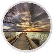 Round Beach Towel featuring the photograph Down By The River by Phil Mancuso