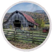 Down In The Valley Round Beach Towel