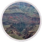 Round Beach Towel featuring the photograph Down Into The Canyon by Kirt Tisdale