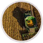 Down On The Combine Round Beach Towel