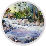 Down Stream On Hoppers Creek Round Beach Towel