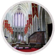 Down The Aisle - Orleans Cathedral Round Beach Towel