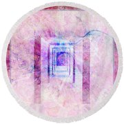 Down The Hall Round Beach Towel