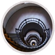 Down The  Lighthouse Stairs Round Beach Towel