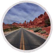 Down The Open Road Round Beach Towel