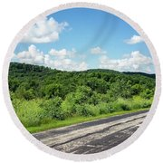 Round Beach Towel featuring the photograph Down The Road by Ricky L Jones