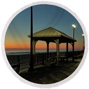 Down The Shore At Dawn Round Beach Towel