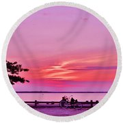 Summer Sunset At The Shore Round Beach Towel
