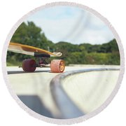 Round Beach Towel featuring the photograph Down The Skatepark by Will Gudgeon