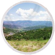 Down The Valley At Snowmass #2 Round Beach Towel