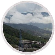 Round Beach Towel featuring the photograph Down The Valley At Snowmass #3 by Jerry Battle