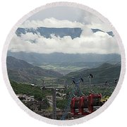 Down The Valley At Snowmass Round Beach Towel