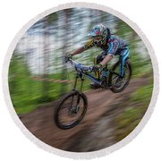 Downhill Race Round Beach Towel