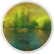 Downriver Glow Round Beach Towel
