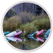 Downtime At Beaver Lake Round Beach Towel