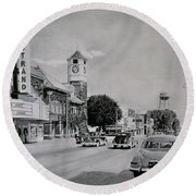 Downtown Alma, Michigan, Circa 1949 Round Beach Towel