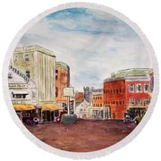 Downtown Amesbury Ma Circa 1920 Round Beach Towel