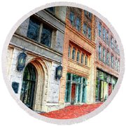 Downtown Asheville City Street Scene II Painted Round Beach Towel