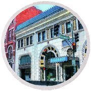 Downtown Asheville City Street Scene Painted  Round Beach Towel