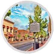 Downtown Blacksburg With Historical Marker Round Beach Towel
