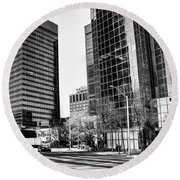 Round Beach Towel featuring the photograph Downtown Bubble Reflections by Darcy Michaelchuk