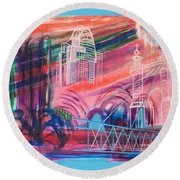 Round Beach Towel featuring the painting Downtown Cincinnati by Diane Pape