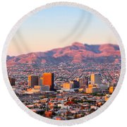 Downtown El Paso Sunrise Round Beach Towel