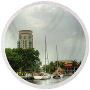 downtown Ft Lauderdale waterfront Round Beach Towel