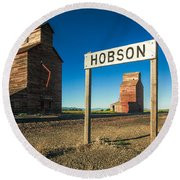 Downtown Hobson, Montana Round Beach Towel