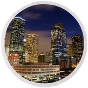 Downtown Houston At Night Round Beach Towel