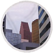 #downtown #houston On A Gloomy Cold Round Beach Towel by Austin Tuxedo Cat
