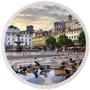 Downtown Lisbon Round Beach Towel by Carlos Caetano